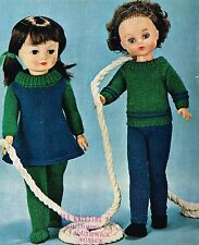 "Dolls clothes Knitting  pattern. 16"" 18"" 20"" doll.   Laminated copy, (V Doll 52)"