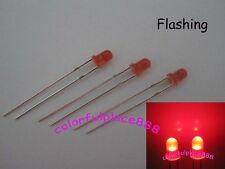 100 x 3mm Red Diffused Round Self Flash Flashing LED Blink Bright Leds Light New