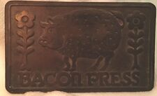 Vintage CAST IRON BACON PRESS Pig Sunflowers Decorative 1978 Taylor & NG