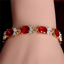 Fashion 18k Yellow Gold Filled Bracelet Nice Popular Cute Austrian Crystal