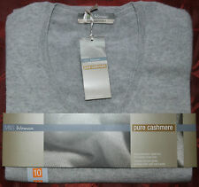 LADIES M&S PURE CASHMERE JUMPER SIZE 10 - V NECK - LIGHT GREY - BNWT
