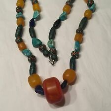 Art Pottery Bead Turquoise Amber Blue Lapis Polished Chunks Trade Bead Necklace