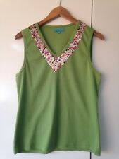 CABLE & GAUGE Green Vest Top Floral Print Neck size 1 Approx8-10  K686