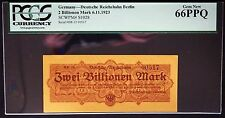 BERLIN 1923 2 Trillion Mark Reichsbahn Railroad PCGS 66 PPQ GEM UNC Germany
