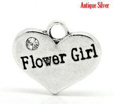 "4 Pc Antique Silver Rhinestone ""Flower Girl"" Heart Charms Pendant 16x14mm LC3029"