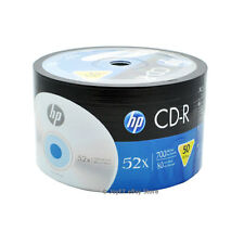 50 Pack HP Logo Brand Blank CDR CD-R 52X Recordable Disc Media 80 min 700MB