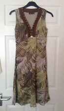 Mexx, dress, lovely forest leaf design,shell & wooden bead,trim,uk M