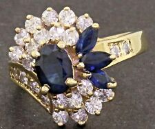 14K gold amazing 2.47CTW diamond & Blue sapphire cluster cocktail ring size 6.25