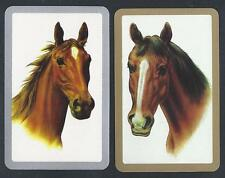 #930.230 vintage swap card -EXC pair- Horse heads, gold & silver border