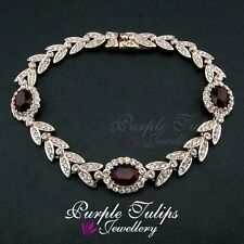 18CT Rose Gold Plated Elegant Ruby Bracelet W/ Gen Swarovski Crystals