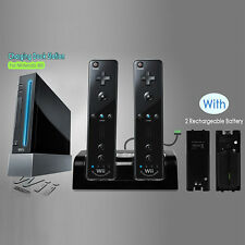Nintendo Wii Dual Charging Charger Dock Station Remote + 2x 2800mAh Batteries BK
