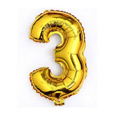 """40"""" Metallic Gold Glossy Three Year Old Birthday Party Number 3 Float Balloon US"""
