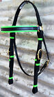 Barcoo/Stockmans Bridle - Mac Tack - PVC Horse Bridle Black & Fluro Green