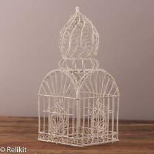 Vintage Large White Domed Wire Bird Cage Decor 22""