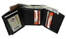 BLACK MENS GENUINE SOFT LEATHER 9+ CARDS ID ID WINDOW  TRIFOLD WALLET FLAP TOP