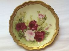 Antique Hand painted Austria Porcelain Plate Roses Signed by Artist c.1899, p106
