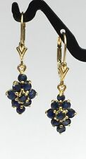 14k Solid Gold Leverback Diamond Shape Dangle Earrings, Natural Sapphire 1.5TCW