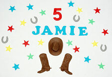 Cowboy loose cake decorations, cowboy boots, hat, 20 x stars, name and age