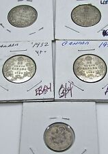 Canada 25 Cents 1930 1932 1917  1934 1935 1917 10 Cents Dime Lot Of 5 Coins