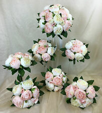 Light Pink/Cream White Peony Artificial Silk Flowers Round Wedding Bouquet Set