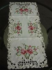 """16x36"""" Embroidered Rose Table Runner Linen Home office Hotel Decor Cutwork desin"""