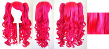 20'' Lolita Wig + 2 Pig Tails Set Hot Pink, Magenta Mix Blend Gothic Sweet