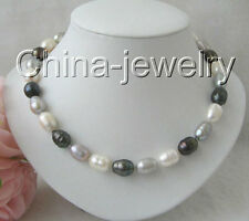 "P1599-18"" 11-13mm natural white black gray baroque freshwater pearl necklace -GP"