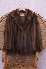 Vintage Real brown Mink fur 50s 60s big collar scallop coat winter jacket S M