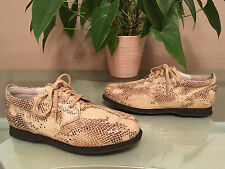 Ladies Samsonite beige cream leather snake print lace up casual shoes UK 7 New