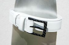2BELT - white leather belt with 100% carbon fiber buckle - AIRPORT FRIENDLY