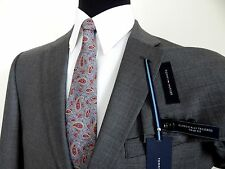 TOMMY HILFIGER GRAY WEAVE 100% WOOL MENS TRIM FIT SUIT FLAT FRONT SLACKS 48R 43W
