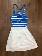 Abercrombie & Fitch Women's Small White Cotton Eyelet Lace Blue Striped Dress