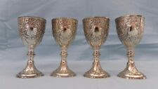 Set of 4 C & Co Corbel Silver Plated Mini Wine Goblets Cups Renaissance