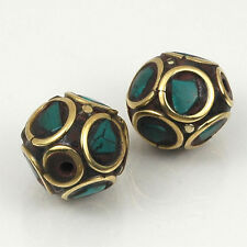 HIZE TBE41 TIBETAN TURQUOISE INLAID BRASS 6 ROUND BALL Beads 11mm