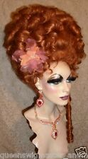 Drag Queen Wig Big Tall Up Do Bright Auburn Red Curls French Twist Tendrils