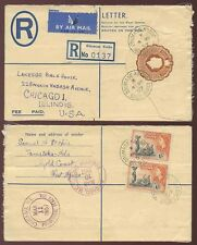 GOLD COAST ODUMASE KROBO REGISTERED STATIONERY QE2 2s 4d RATE AIRMAIL to USA