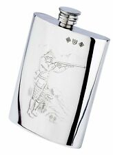 "Pewterware ""game shooter & dog"" scene - 6oz oblong hip flask & free funnel VP90"