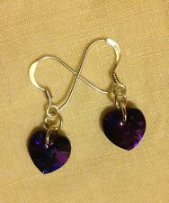 925 Sterling Silver Earrings with Swarovski Elements Purple Hearts+ Gift Bag