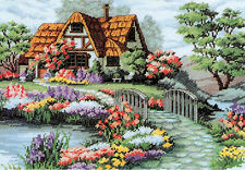 14ct Counted Cross Stitch Kit Bridge,River, Cottage 43x34cm Christmas Gift New