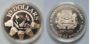1977 Singapore Large  silver Proof $10- Hands/World Map