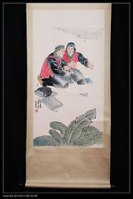 Vintage Chinese Paper Figure Scroll Painting Mark Famous Artist Collection PP483