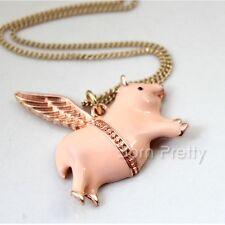 Kette Halskette Halsschmuck mit Schwein Anhänger Pig Wing Pendant Necklace