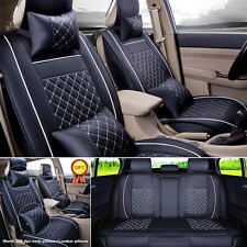 Auto Car SUV 5-Seats PU Leather Seat Cover Front+Rear Set w/Neck Lumbar Pillow