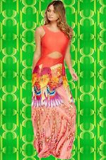 G463 Pop Art Indian Sprit Boho Hippie Maxi Kleid Phoenix Cut Outs koralle bunt