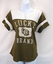 Lucky Brand Women's M Olive Green Lucky College Tee Top Blouse T-Shirt NEW NWT