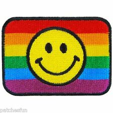 Smiley Face Flag Happy Rainbow Gay Lesbian Colorful LGBT Iron on Patch #1321