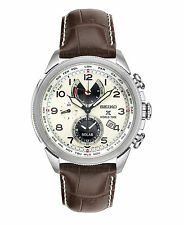 New Seiko Prospex Solar World Time Chronograph Leather Strap Mens Watch SSC509