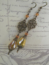 VINTAGE VICTORIAN STYLE DANGLE tOPAZ DROP EARRINGS SWAROVSKI ELEMENTS