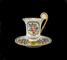 Sevres Porcelain Footed Cup & Saucer Hand Painted Gilt, 19th Century