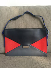 SALE! MINT Auth Celine Tricolor Diamond Clutch Bag Calfskin Black Red Gray